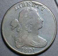 1801 DRAPED BUST LARGE CENT >1 OVER 000< FULL FINE W/CUD ORIGINAL PROBLEM FREE