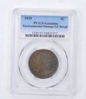 EXTRA FINE  DETAIL 1810 CLASSIC HEAD LARGE CENT ENVIRONMENTAL DAMAGE - GRADED PCGS 1465