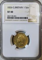GOLD 1826 GREAT BRITAIN FULL SOVEREIGN NGC XF 40 NEARLY 200 YEARS OLD