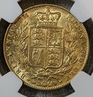 GOLD 1844 GREAT BRITAIN FULL SOVEREIGN NGC AU 50 BEAUTIFUL REVERSE