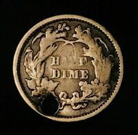 1872 SEATED LIBERTY HALF DIME 5C GOOD FILLER LOW MINTAGE US SILVER COIN CC972