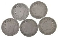 LOT OF 5 1912-S LIBERTY V NICKELS 5822
