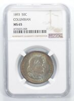 MINT STATE 65 1893 COLUMBIAN COMMEMORATIVE HALF DOLLAR - AMAZING COLOR - GRADED NGC 6795