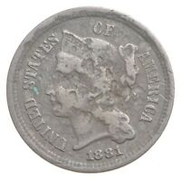 1881 NICKEL THREE CENT PIECE   CHARLES COIN COLLECTION  559