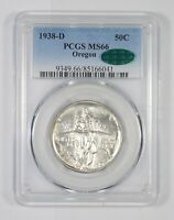 MINT STATE 66 CAC 1938-D OREGON TRAIL COMMEMORATIVE HALF DOLLAR - GRADED PCGS 6223