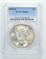 MINT STATE 65 1934-D PEACE SILVER DOLLAR - GRADED PCGS 6430