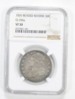 VF30 1836 CAPPED BUST HALF DOLLAR - O-106A - BEADED REVERSE - GRADED NGC 5572