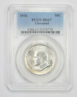 MINT STATE 67 1936 CLEVELAND COMMEMORATIVE HALF DOLLAR - GRADED PCGS 6141