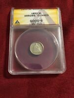 1853 SEATED LIBERTY HALF DIME WITH ARROWS H10C  ANACS GOOD 6 CLEANED