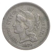 1870 NICKEL THREE CENT PIECE   CHARLES COIN COLLECTION  603