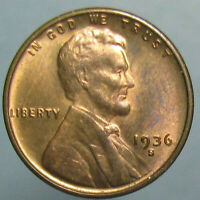 CHOICE BU 1936 S LINCOLN CENT   MOSTLY RED WITH NICE OBVERSE TONING