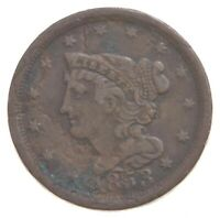 1853 BRAIDED HAIR HALF CENT   CHARLES COIN COLLECTION  465