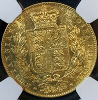 1842 GOLD FULL SOVEREIGN GREAT BRITAIN NGC AU 55 BEAUTIFUL REVERSE
