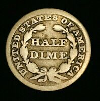 1849/6 SEATED LIBERTY HALF DIME 5C  OVERDATE VARIETY US SILVER COIN CC1106