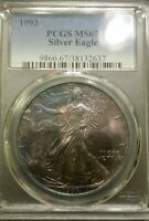 1993  SILVER EAGLE PCGS MINT STATE 67 AWESOME COIN MONSTER RAINBOW TONER