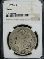 1889-CC MORGAN SILVER DOLLAR NGC VG8  PERFECT ORIGINAL GREY