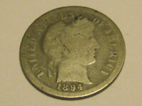 1894-P 90 SILVER BARBER DIME GOOD BETTER DATE