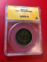 1845 BRAIDED HAIR LARGE CENT ANACS GD-6 DETAILS WITH