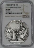 1930 ICELAND 10K ALTHING MILLENNIUM NGC CERTIFIED MS 61 MINT STATE  008