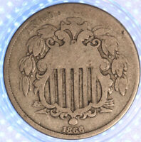 1866 SHIELD NICKEL WITH RAYS, ORIGINAL COLOR, SHARP