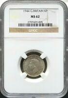 1944 GREAT BRITAIN SIX PENCE NGC MS 62