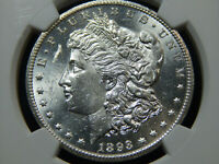 1893-CC $1 MORGAN DOLLAR MINT STATE 61 NGC, BLAST WHITE REALLY  LOOKS HIGHER