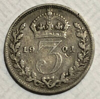 1901 GREAT BRITAIN STERLING SILVER THREE PENCE COIN