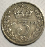 1912 GREAT BRITAIN STERLING SILVER SIX PENCE COIN