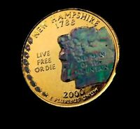 2000 D NEW HAMPSHIRE STATE QUARTER // 24K GOLD PLATED   HOLO