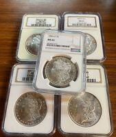 BULK LOT 5 COINS MINT STATE 65 1879-1904 MORGAN SILVER DOLLAR NGC/PCGS SET COLLECTION