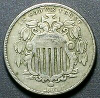 1867 WITH RAYS SHIELD NICKEL  FINE ALL ORIGINAL AND PROBLEM FREE