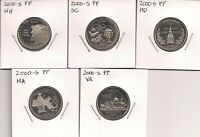 2000 02 06 & TWO 03 S STATE CLAD PROOF QUARTER 25 COIN GROUP