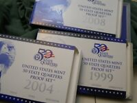 1999 2004 2008 STATE QUARTER SET WITH BOX AND COA.