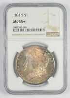 MINT STATE 65 1881-S MORGAN SILVER DOLLAR - TONED - GRADED NGC 7762