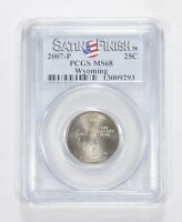 MS68 2007 P WYOMING STATE QUARTER   SATIN FINISH   GRADED PC