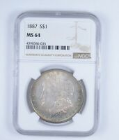 MINT STATE 64 1887 MORGAN SILVER DOLLAR - RAINBOW TONED - GRADED BY NGC 9618