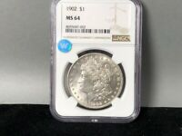 1902-P NGC MINT STATE 64 MORGAN SILVER DOLLAR SIGHT WHITE CERTIFIED  GREAT STRIKE