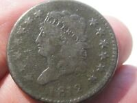 1812 CLASSIC HEAD LARGE CENT - LARGE DATE -  GOOD COND - LOT AW-45
