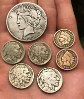 CLEANED LOT 7 COINS: 1922 S SILVER PEACE DOLLAR BUFFALO NICKELS & INDIAN CENTS