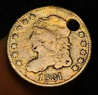 1831 CAPPED BUST SILVER HALF DIME 5C VG SHARP FULL LIBERTY US SILVER COIN CCC270