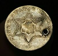 1856 THREE CENT SILVER PIECE TRIME 3C TYPE 2 SHARP DATE US SILVER COIN CC997