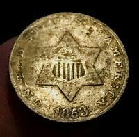 1853 THREE CENT SILVER PIECE TRIME 3C TYPE 1 SHARP DATE US SILVER COIN CC1286