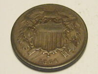 1864 SMALL MOTTO TWO CENT PIECE FINE KEY DATE