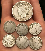 CLEANED LOT OF 7 COINS: 1922 SILVER PEACE DOLLAR LIBERTY AND BUFFALO NICKELS
