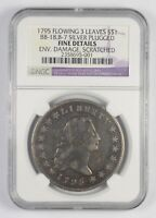 FINE DETAILS 1795 FLOWING HAIR DOLLAR - 3 LEAVES SILVER PLUG - GRADED NGC 7760