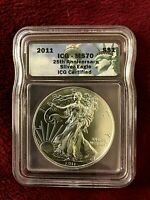 2011 1 TROY OZ 0.999 AMERICAN SILVER EAGLE 25TH ANNIVERSARY ICG CERTIFIED MS70