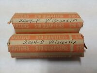 TWO 2004 WISCONSIN BU QUARTER ROLLS   P&D MINT MARKS  80 COI