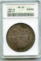 1886 VAM-12 MORGAN SILVER DOLLAR $1 ANACS MINT STATE 63 DOUBLED DATE