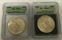 1922 & 1923 PEACE DOLLARS  BOTH ICG MINT STATE 64  TWO BRIGHT, BOLD & HAPPY COINS