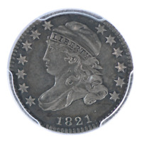 1821 CAPPED BUST DIME PCGS AU50 SMALL DATE
